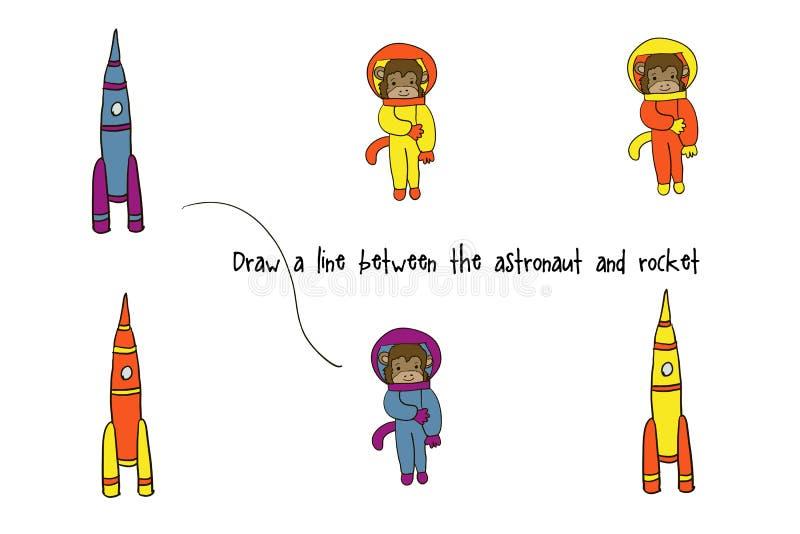 Jeu pour des enfants avec un singe illustration libre de droits