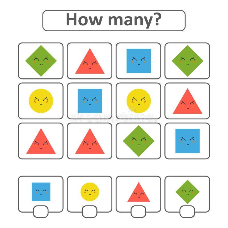 jeu pour les enfants préscolaires Comptez autant de formes géométriques dans la photo et notez le résultat Avec un endroit pour d illustration libre de droits