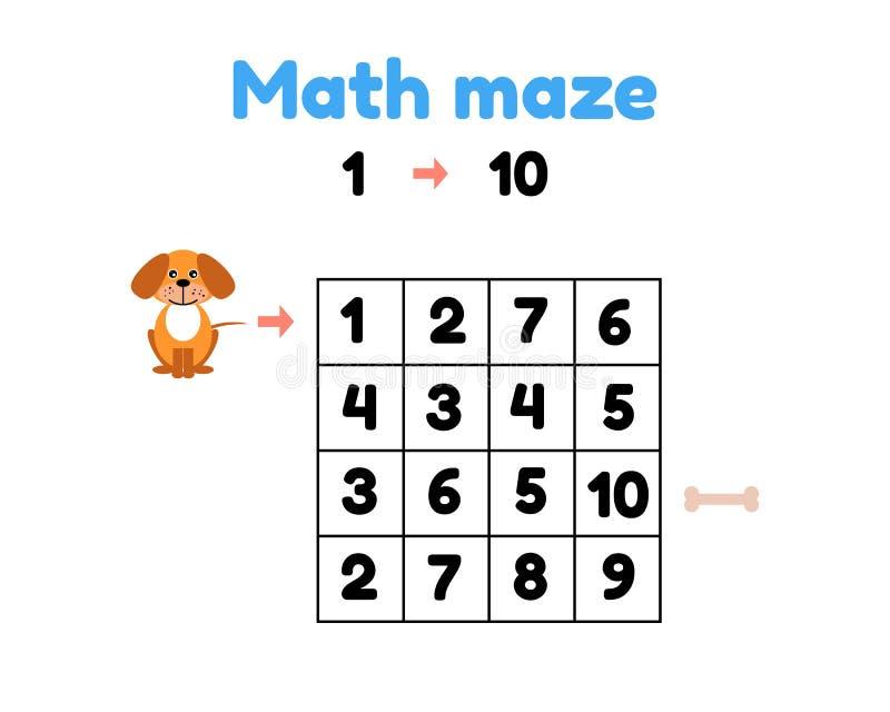jeu pour les enfants préscolaires labyrinthe mathématique aidez le chiot à obtenir à l'os nombres de découverte de 1 à 10 illustration stock