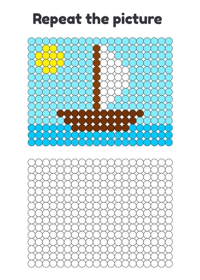 jeu pour les enfants préscolaires Répétez la photo Peignez les cercles bateau, bateau avec la voile blanche illustration de vecteur