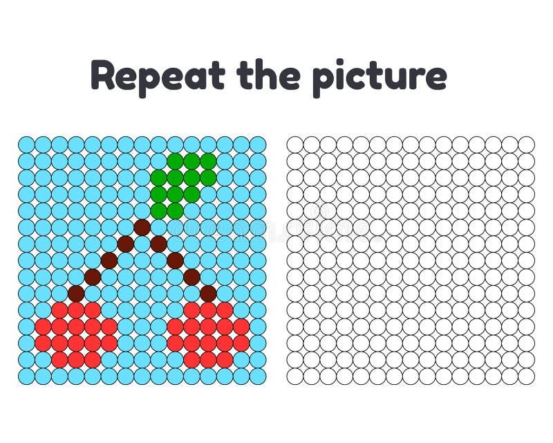 jeu pour les enfants préscolaires Répétez la photo Peignez les cercles Deux cerises sur une brindille avec une feuille sur un fon illustration libre de droits