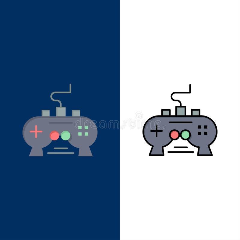 Jeu, protection, vidéo, Xbox, icônes de PlayStation L'appartement et la ligne icône remplie ont placé le fond bleu de vecteur illustration libre de droits