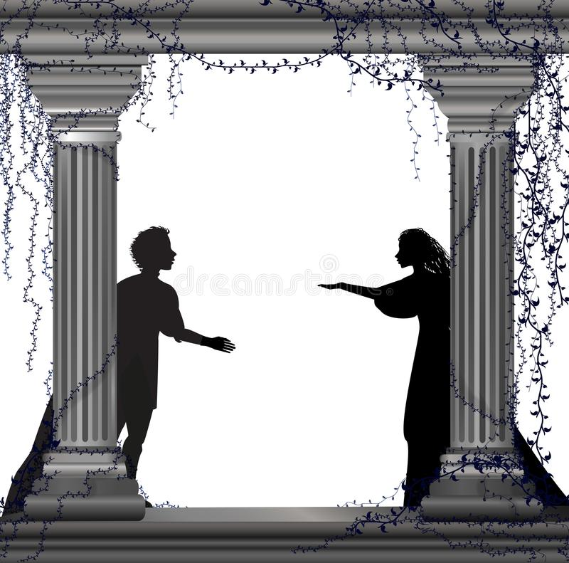 Jeu Romeo et Juliet, date romantique, silhouette, histoire de Shakespeare s d'amour, illustration stock
