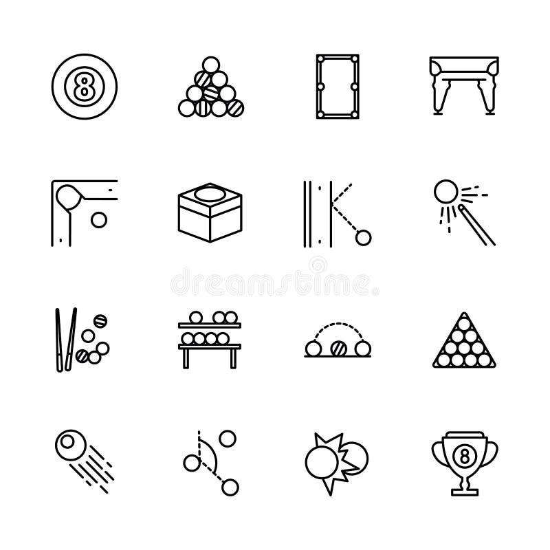 Jeu simple de billard d'ensemble d'icône Contient de telles boules de billard de symboles, bâton de piscine, queue, poche, pyrami illustration de vecteur