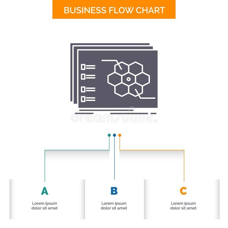 Jeu, stratégique, stratégie, la tactique, conception tactique d'organigramme d'affaires avec 3 étapes Ic?ne de Glyph pour le fond illustration de vecteur