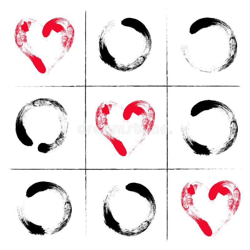 Jeu tiré par la main d'orteil de tac de tic Illustration heureuse de jour de valentines Jeu d'amour Orteil et diagonale des coeur illustration de vecteur