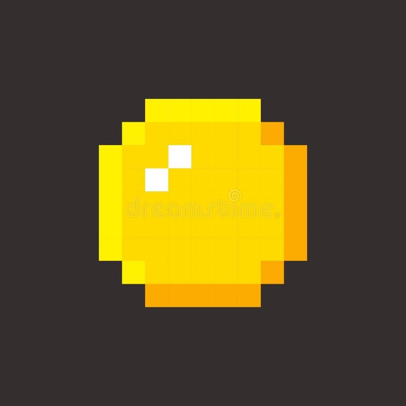 Jeu vidéo de pièce de monnaie d'or d'art de pixel rétro illustration stock