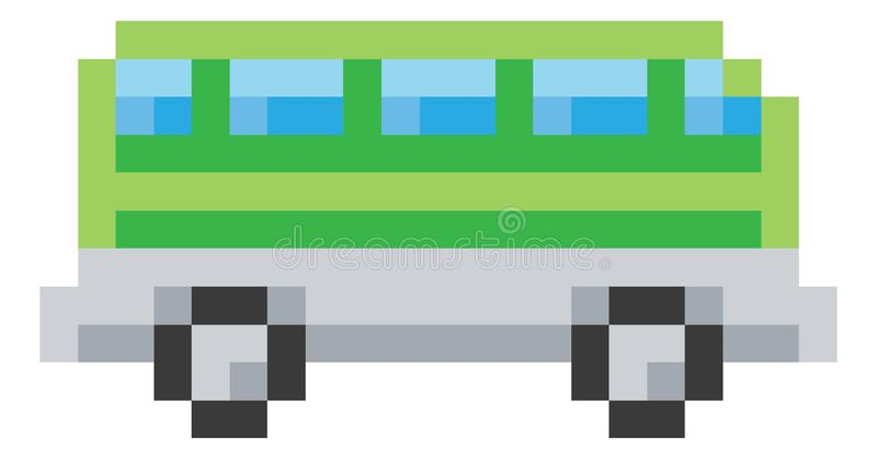 Jeu vidéo mordu Art Icon de Pixel 8 de car d'autobus illustration de vecteur