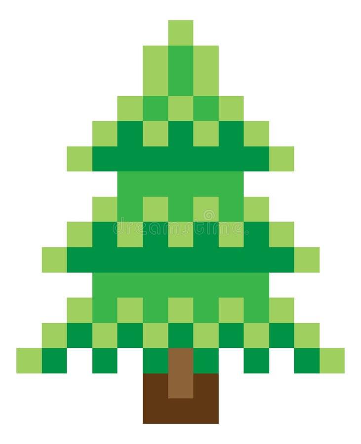 Jeu vidéo mordu Art Icon du pixel 8 d'arbre illustration de vecteur