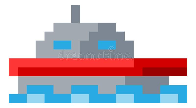 Jeu vidéo mordu Art Icon du pixel 8 de bateau de bateau illustration libre de droits