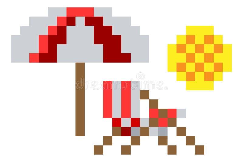 Jeu vidéo mordu Art Icon du pixel 8 de chaise de plage de plate-forme illustration stock