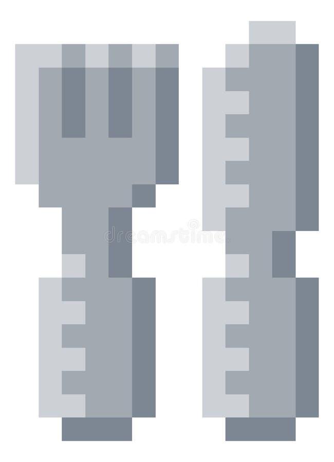 Jeu vidéo mordu Art Icon du pixel 8 de couverts de fourchette de couteau illustration de vecteur