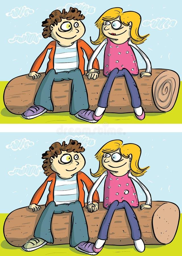 Jeu de visuel de différences de couples d'amour illustration de vecteur