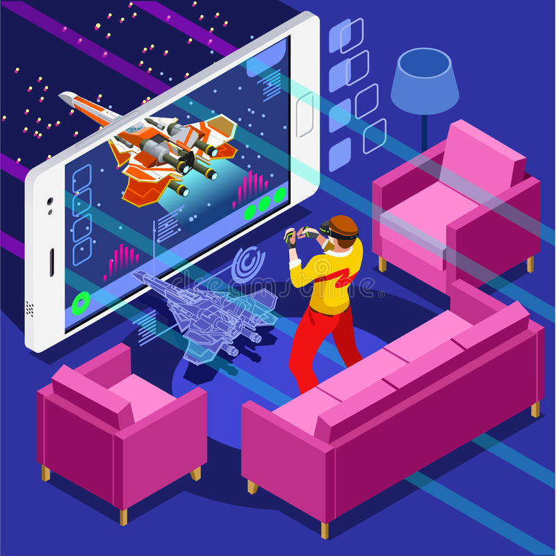 Jeu visuel Person Vector Illustration isométrique de jeu d'ordinateur illustration libre de droits