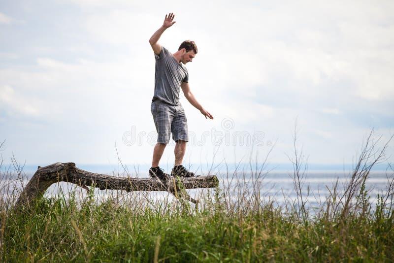 Jeune équilibrage adulte sur un arbre dans les vacances photos libres de droits