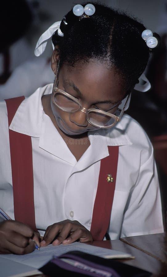 Jeune étudiant dans l'uniforme scolaire photographie stock libre de droits