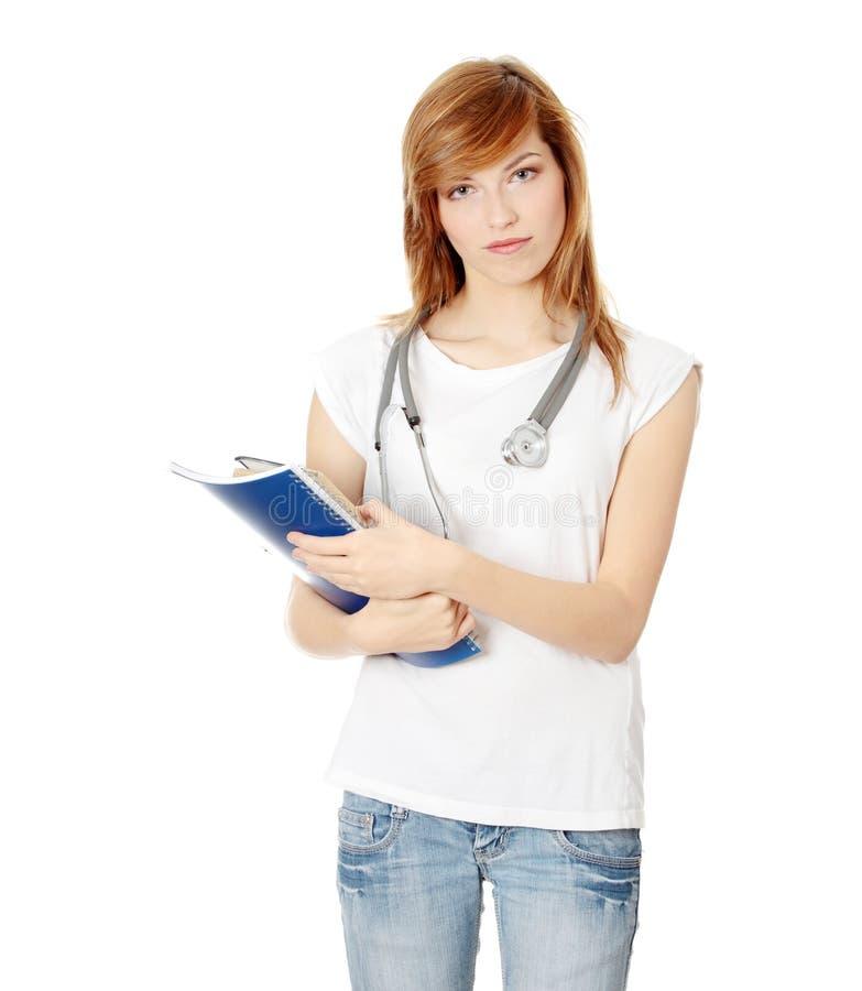 Jeune étudiant féminin de médecine photos libres de droits
