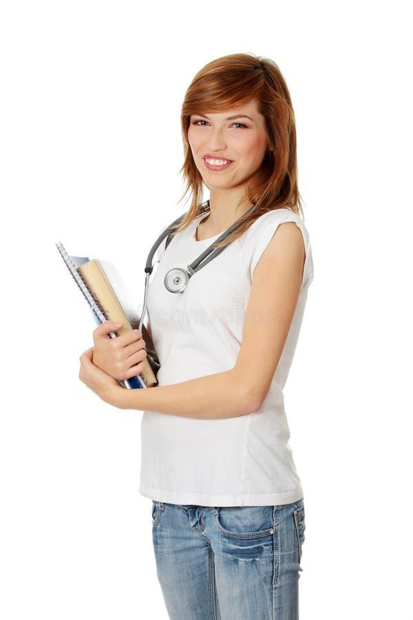 Jeune étudiant féminin de médecine images libres de droits