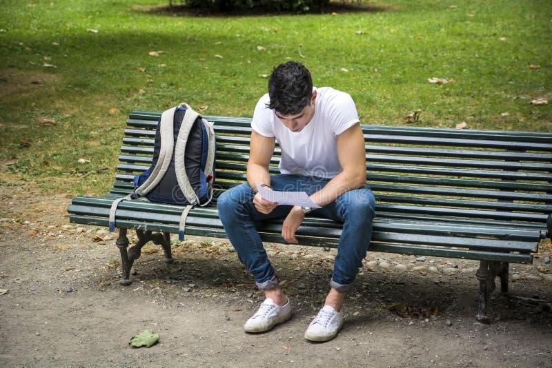 Jeune étudiant masculin Studying au banc sérieusement photos libres de droits