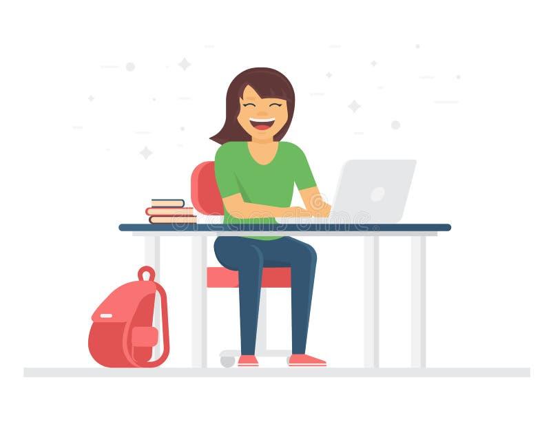 Jeune étudiant ou écolière souriant et faisant le travail à la maison avec l'ordinateur portable illustration libre de droits