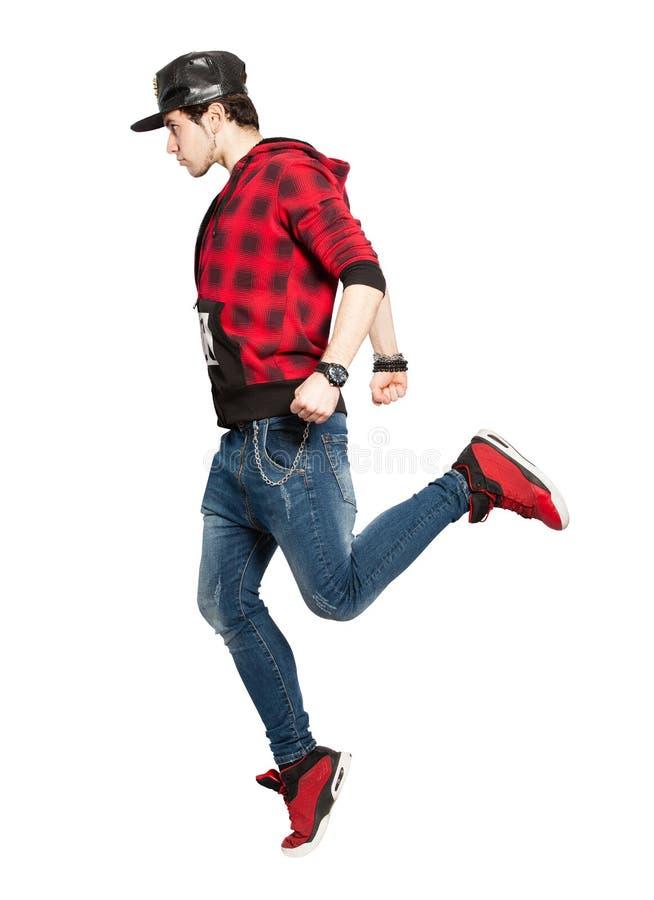 Jeune action urbaine de danseur de rue Sur le fond blanc, png disponible photographie stock libre de droits