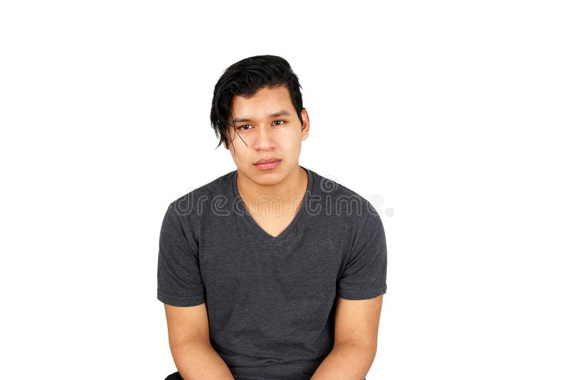 Jeune ado hispanique sérieux image libre de droits