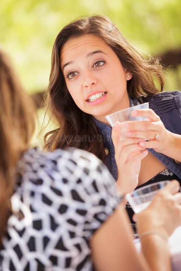 Jeune adolescent expressif femelle ayant des boissons et parlant avec des amis photos stock