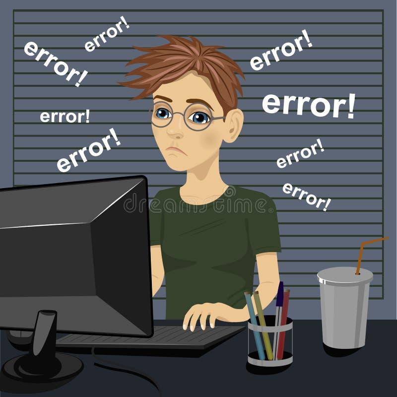 Jeune adolescent triste confus et étant dans la mauvaise humeur avec le message d'erreur sur l'ordinateur illustration stock