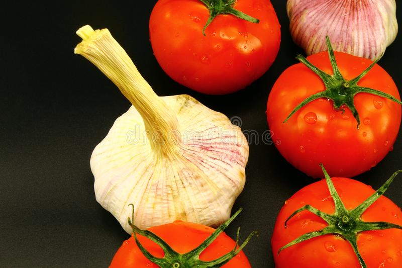 Jeune ail avec les tomates juteuses rouges sur le fond noir images libres de droits