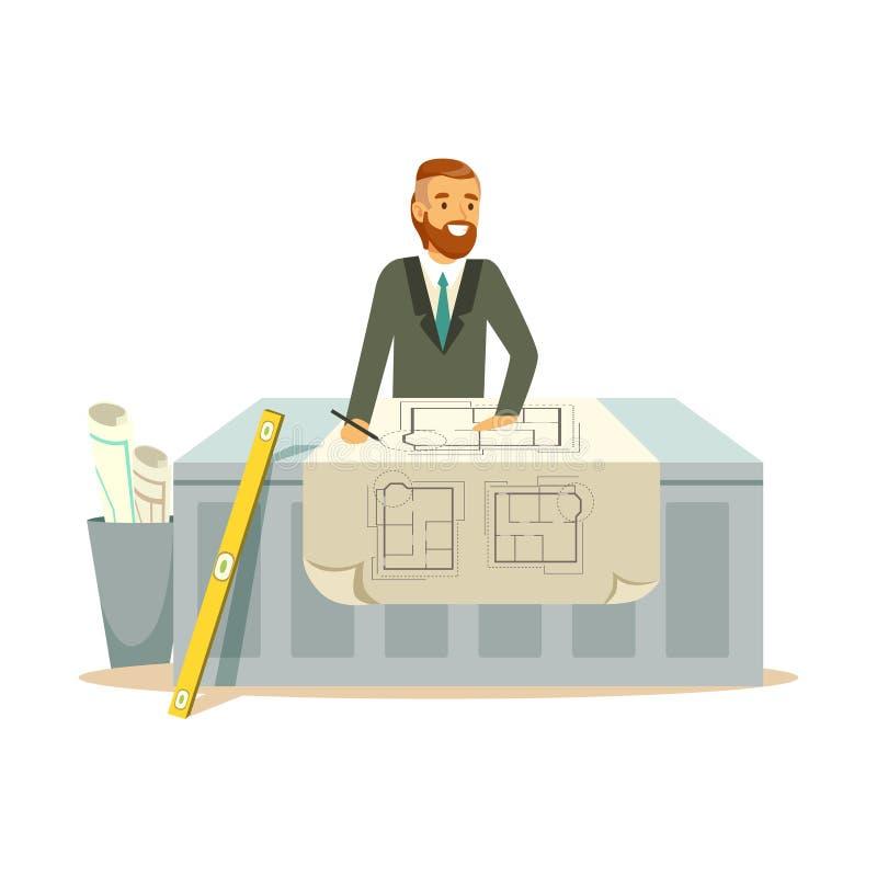 Jeune architecte de sourire travaillant sur son projet au bureau, illustration colorée de vecteur de caractère illustration de vecteur