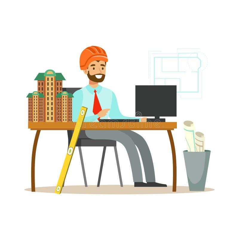 Jeune architecte de sourire travaillant sur son projet au bureau, illustration colorée de vecteur de caractère illustration stock