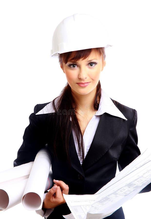Jeune architecte féminin de sourire image libre de droits