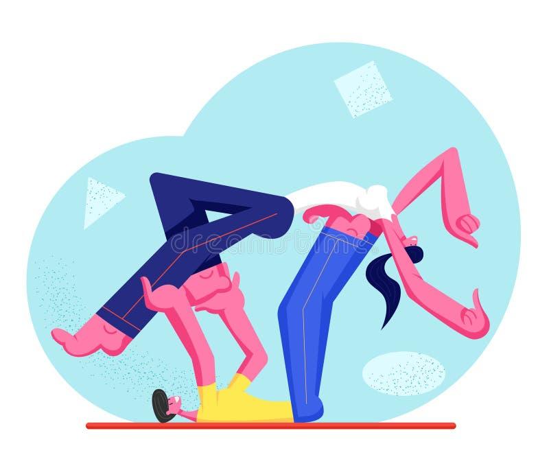Jeune athlète Man et caractères de femme portant l'habillement de sport faisant l'exercice de forme physique ou d'aérobic Mâle et illustration stock