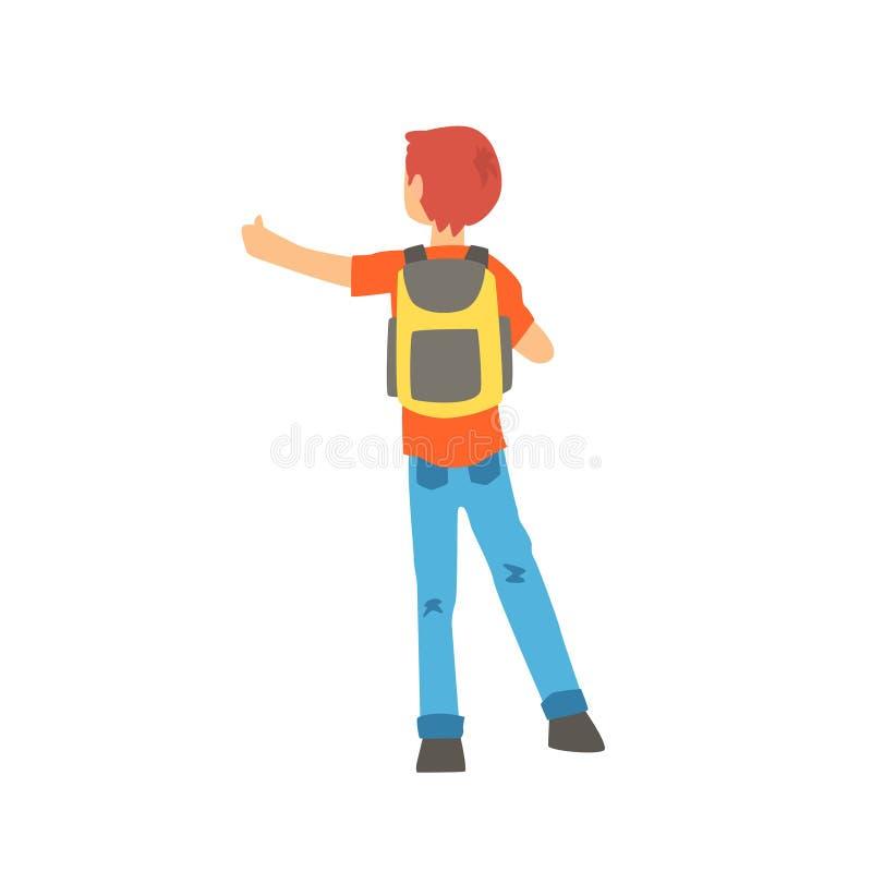 Jeune auto-stoppeur masculin voyageant avec le sac à dos, homme essayant d'arrêter une voiture sur une route à la main, vue arriè illustration libre de droits
