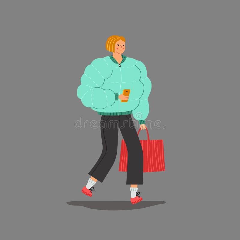 Jeune balade blonde de femme de plomb après vecteur de achat illustration de vecteur