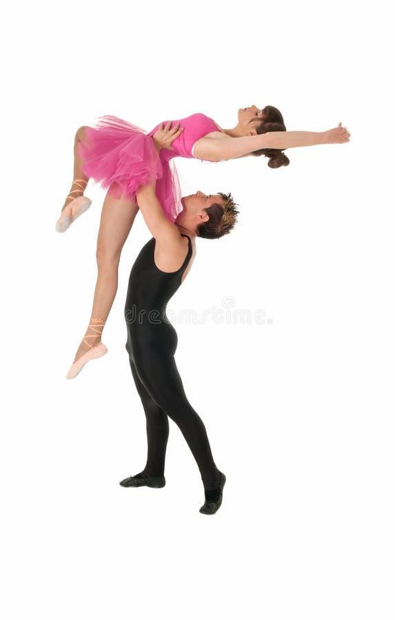 Jeune ballet de danse de couples d'isolement sur le blanc photos stock