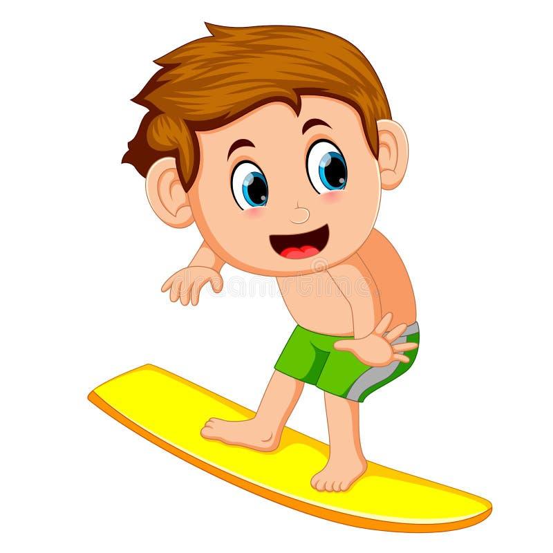 Jeune bande dessinée de surfer illustration stock