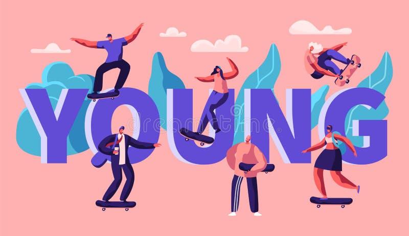Jeune bannière de typographie de planche à roulettes de patin de caractère de hippie Homme de patineur sur le mode de vie frais d illustration libre de droits