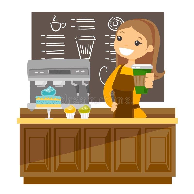 Jeune barman caucasien faisant une tasse du café illustration de vecteur