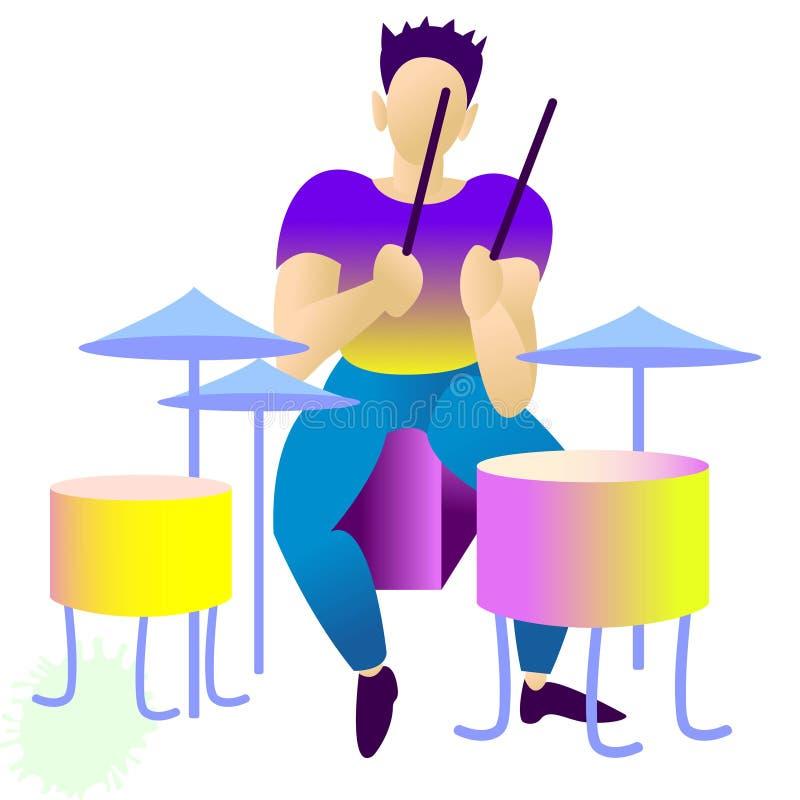 Jeune beau batteur Illustration d'isolement de vecteur vedettes du rock plates rendy, bruit, jazz, caractères Bande dessinée plat illustration stock