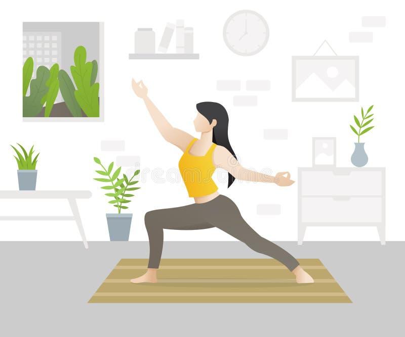 Jeune beau caractère de femme faisant le yoga illustration libre de droits