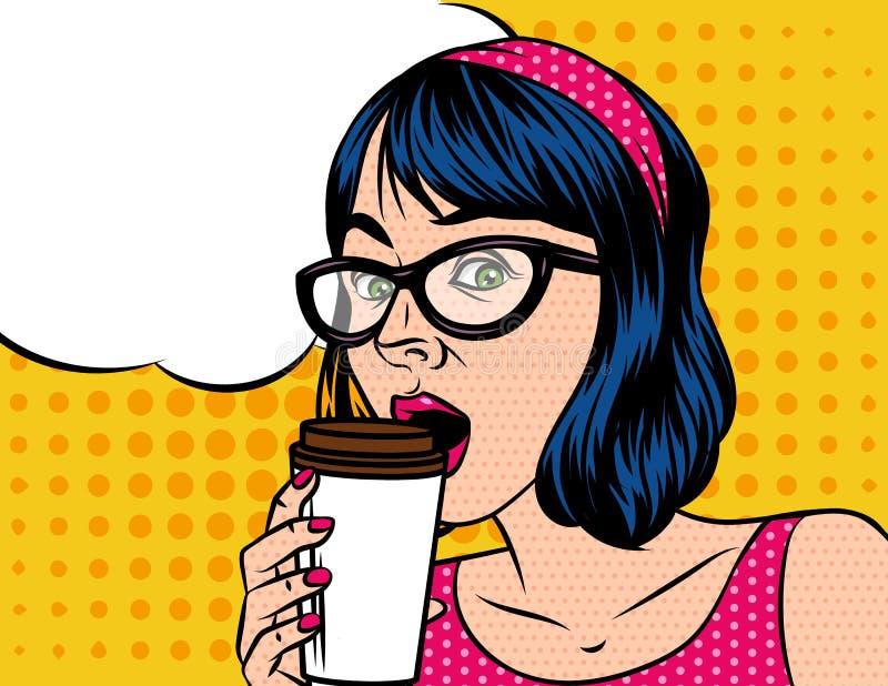 Jeune beau dans la rétro femme de style avec la tasse de café illustration stock