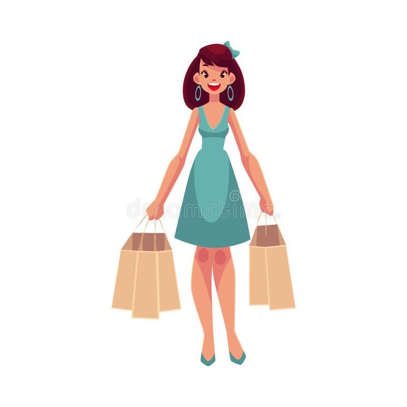 Jeune beau femme avec des sacs à provisions illustration libre de droits