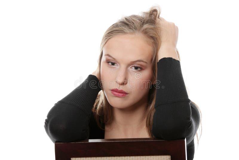 Jeune beau femme avec la dépression photos stock