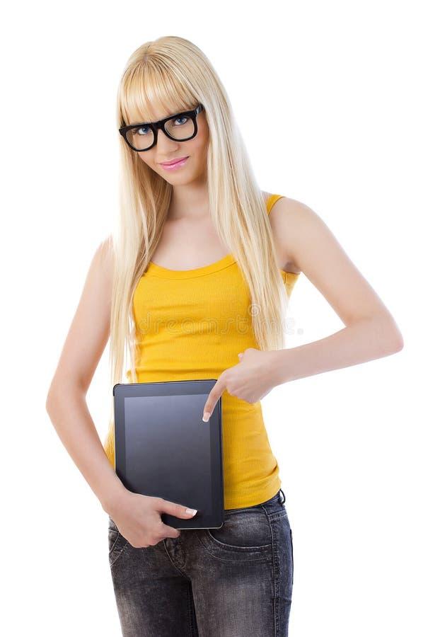 Jeune beau femme avec le PC de tablette photos stock