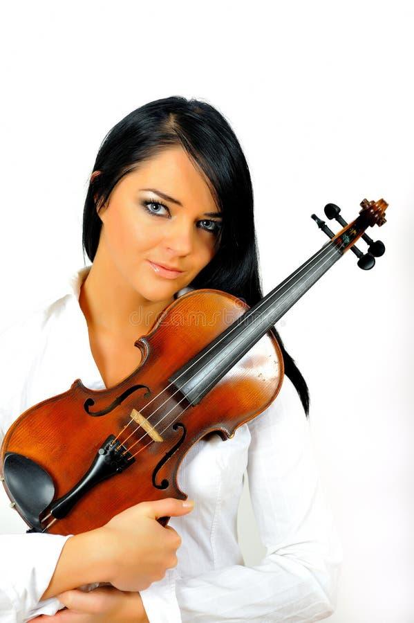 Jeune beau femme avec le violon photographie stock