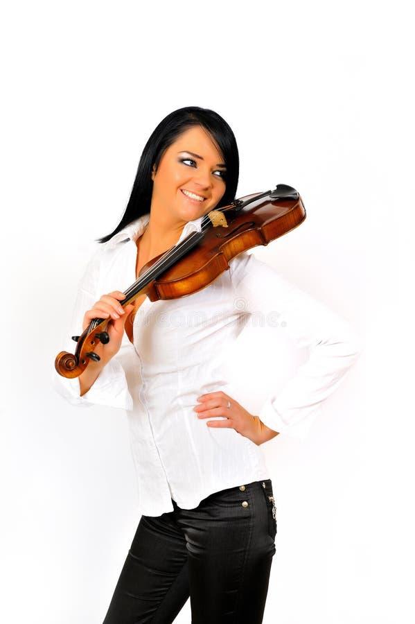 Jeune beau femme avec le violon photographie stock libre de droits