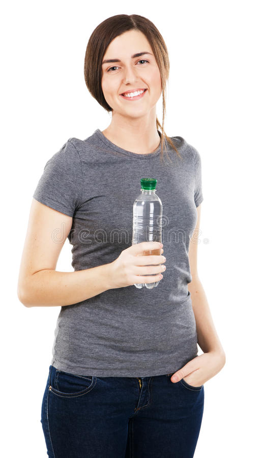 Jeune beau femme avec une bouteille de l'eau images libres de droits