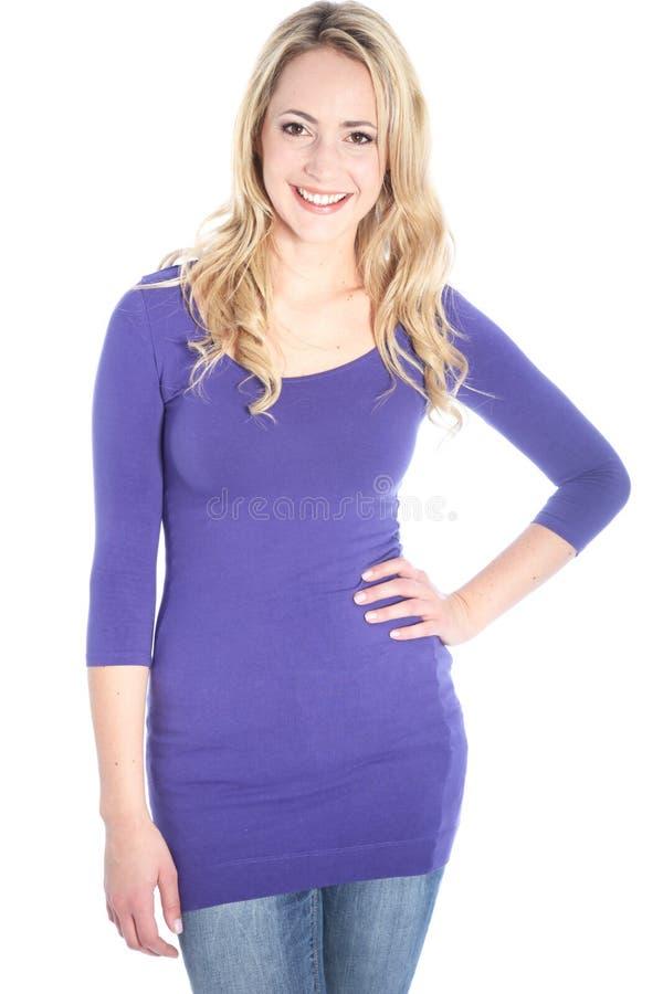 Jeune beau femme blond heureux image stock