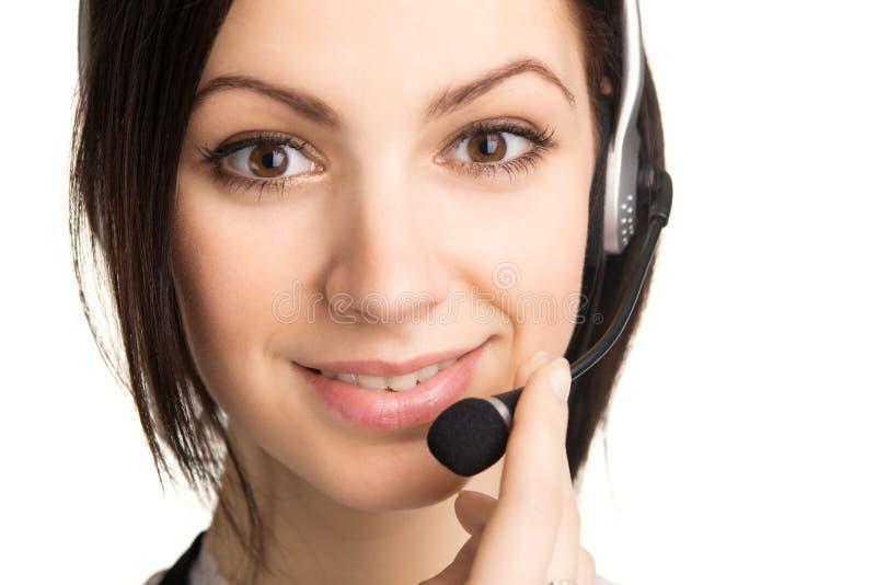 Jeune bel opérateur de centre d'attention téléphonique photos stock